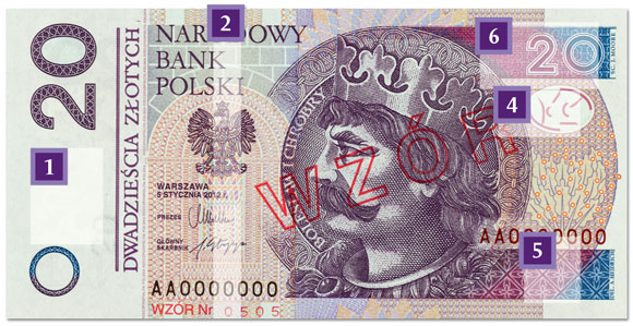nowy banknot 20 zł - awers